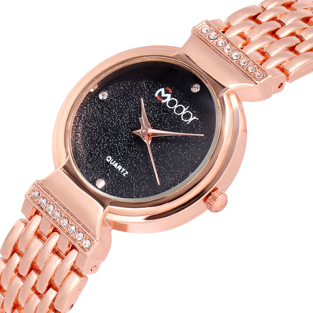 Modor Diva's Choice Rose Gold Black Formal / Casual / Party Wear Multi Purpose Wrist Watch For Women & Girls