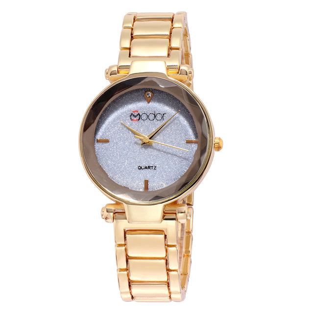 Modor Classy Crystal Gold Formal / Casual / Party Wear Multi Purpose Wrist Watch For Women & Girls