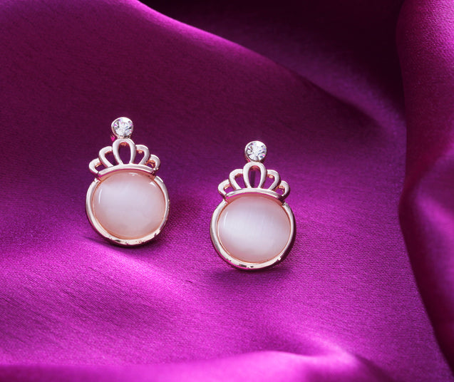 Addic Bold & Beautiful Big Crown Pink Pearl Pendant & Earrings Set for Girls and Women.