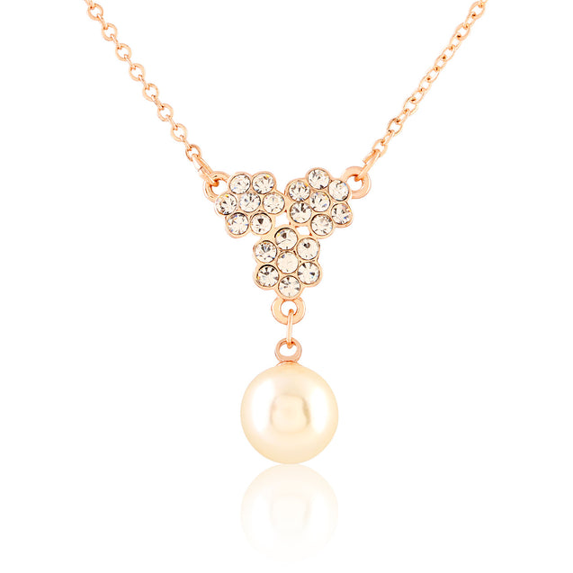 Addic Sparkling Flower Detailed Pearl Gold Pendent & Earring Set for Girls and Women.