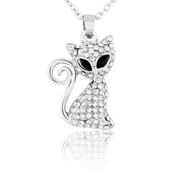 Addic Glazed Crystal Studded Kitty Silver Pendant & Earring Set for Girls and Women.