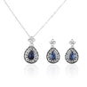 Addic Bold & Beautiful Etanic Blue Stone Pendant & Earrings Set for Girls and Women.