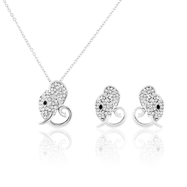 Addic Luxury Elephant Silver Diamond Studded Pendant & Earrings Set for Girls and Women.