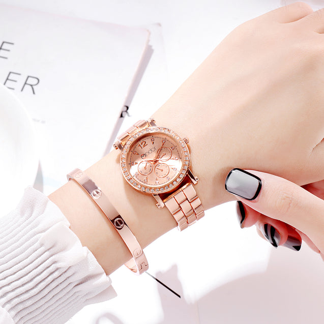 Modor Regality Intricately Carved Rose Gold Formal / Casual / Party Wear Multi Purpose Wrist Watch For Women & Girls