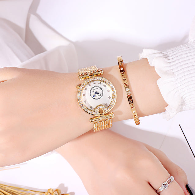 Modor Modern Classy Gold & Blue Formal / Casual / Party Wear Multi Purpose Wrist Watch For Women & Girls