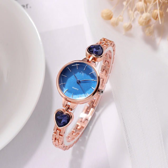 Addic BL Patakha Ocean Blue Crystals Rose Gold Watch For Women & Girls.