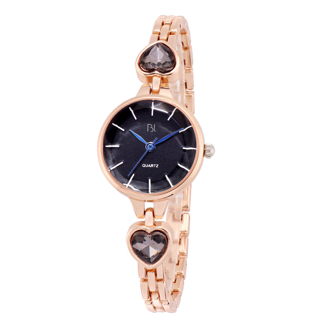Addic BL Jet Black Crystals Hearts Rose Gold Watch For Women & Girls.