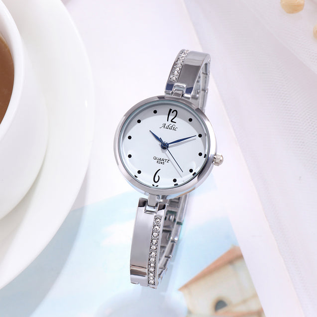 Addic The Bling Class Silver Formal Cum Party Watch For Women & Girls.