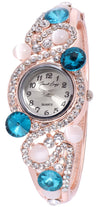 French Loops Charming Looks Blue Stone & Crystal Studded Party Wear Bangle Bracelet Watch
