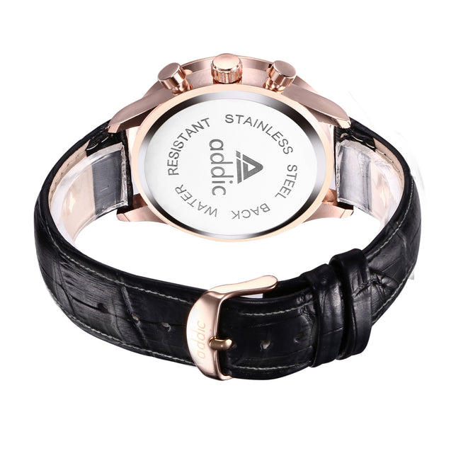 Addic His Majesty's Pride Rose Gold Chronometer Watch - Black