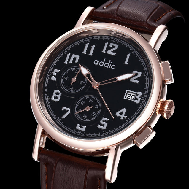 Addic King Of Time Designer Men's Chronometer Watch - Brown