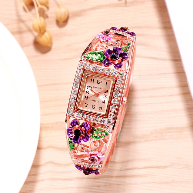 French Loops Flower Carvings Purple Ethnic Party Wear Rose Gold Bracelet Watch