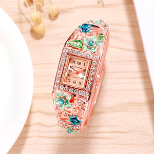 French Loops Flower Carvings Blue Ethnic Party Wear Rose Gold Bracelet Watch