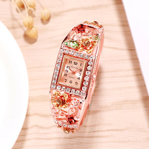 French Loops Flower Carvings Golden Ethnic Party Wear Rose Gold Bracelet Watch