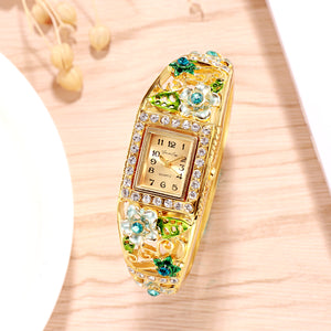 French Loops Flower Carvings Blue Ethnic Party Wear Gold Bracelet Watch
