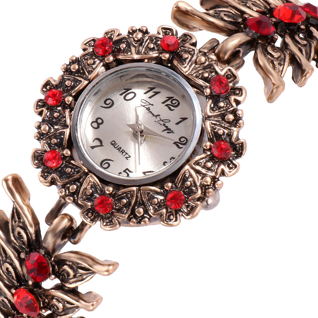 French Loops Last Love Jewel Studded Red Ethnic Party Wear Bracelet Watch