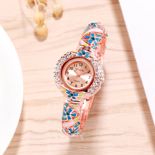 French Loops Her Majesty's Blue & Rose Gold Jewel Studded Ethnic Party Wear Bracelet Watch