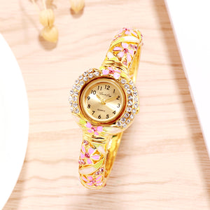 French Loops Her Majesty's Pink & Gold Jewel Studded Ethnic Party Wear Bracelet Watch