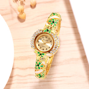 French Loops Her Majesty's Green & Gold Jewel Studded Ethnic Party Wear Bracelet Watch