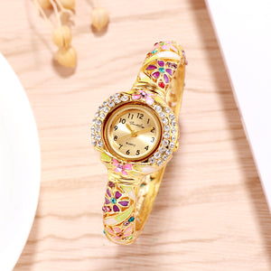French Loops Her Majesty's Multicolor Jewel Studded Gold Ethnic Party Wear Bracelet Watch