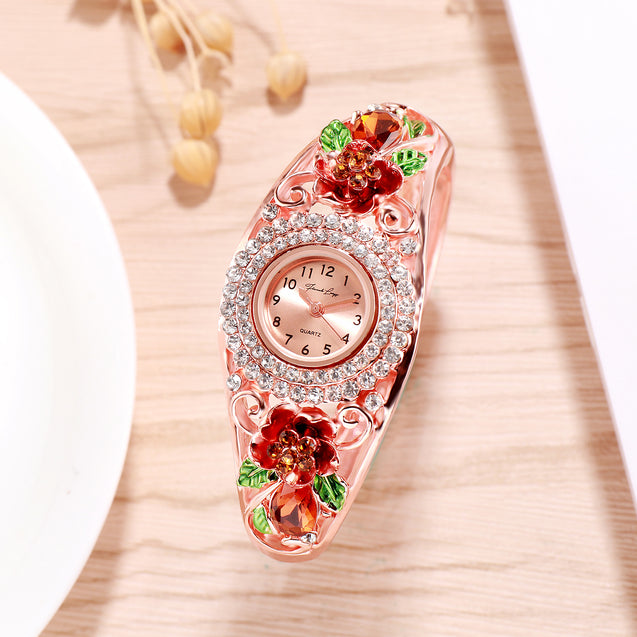 French Loops Rose Blush Red & Gold Crystal Studded Rose Gold Ethnic Party Wear Bracelet Watch