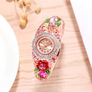 French Loops Rose Blush Pink Rose Gold Crystal Studded Ethnic Party Wear Bracelet Watch