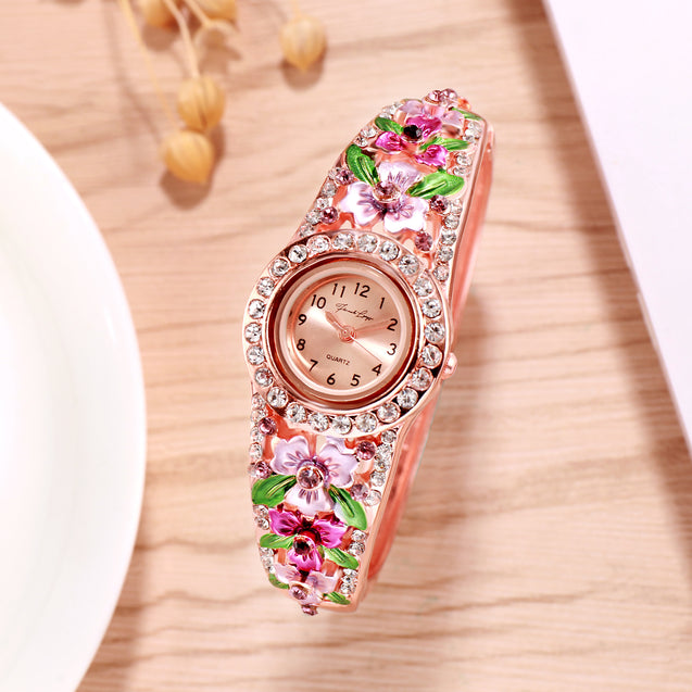 French Loops March Blossoms Pink Rose Gold Studded Ethnic Party Wear Bracelet Watch