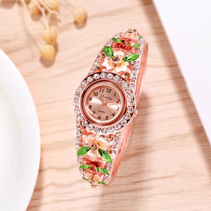 French Loops March Blossoms Golden Rose Gold Studded Ethnic Party Wear Bracelet Watch