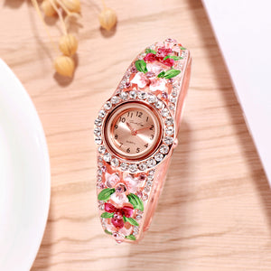 French Loops March Blossoms Red Rose Gold Studded Ethnic Party Wear Bracelet Watch