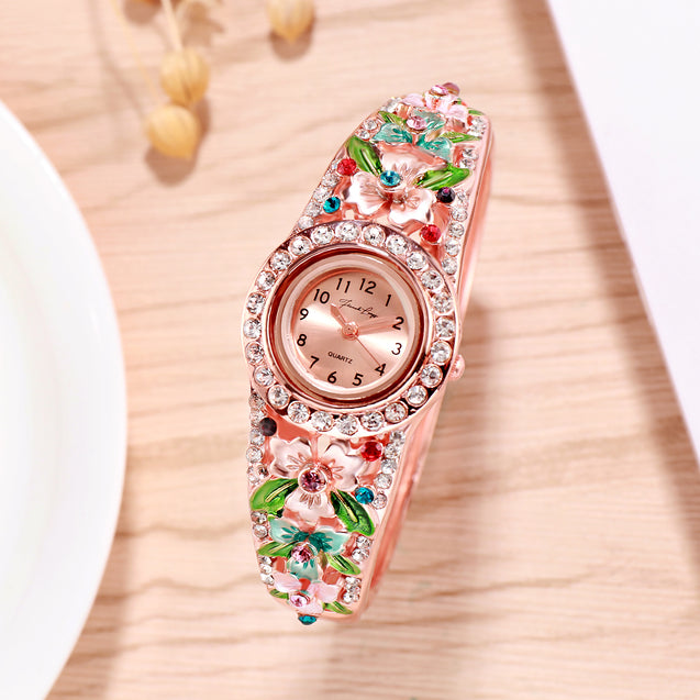 French Loops March Blossoms Multicolor Rose Gold Studded Ethnic Party Wear Bracelet Watch