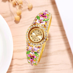 French Loops March Blossoms Purple Gold Studded Ethnic Party Wear Bracelet Watch