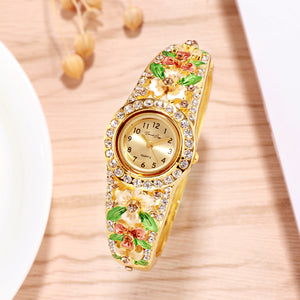 French Loops March Blossoms Gold Studded Ethnic Party Wear Bracelet Watch