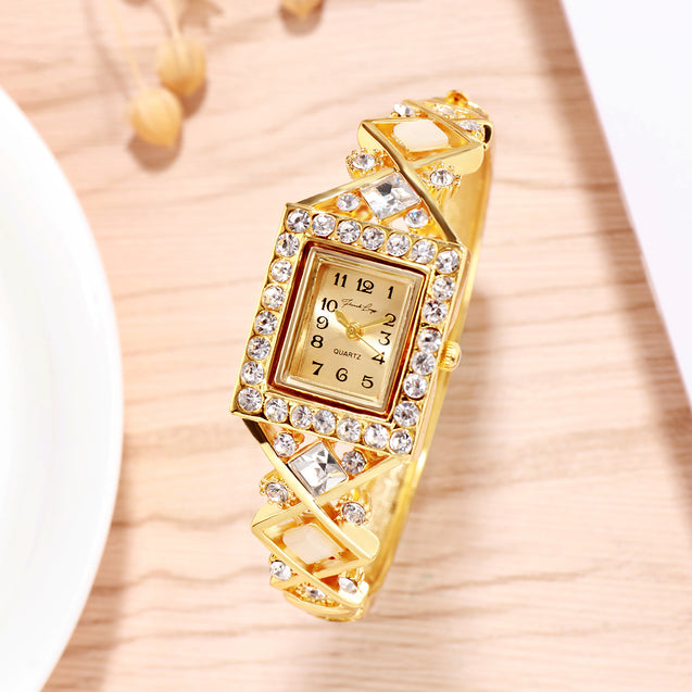 French Loops Nizam's Treasure Crystal Studded Gold Ethnic Party Wear Bracelet Watch