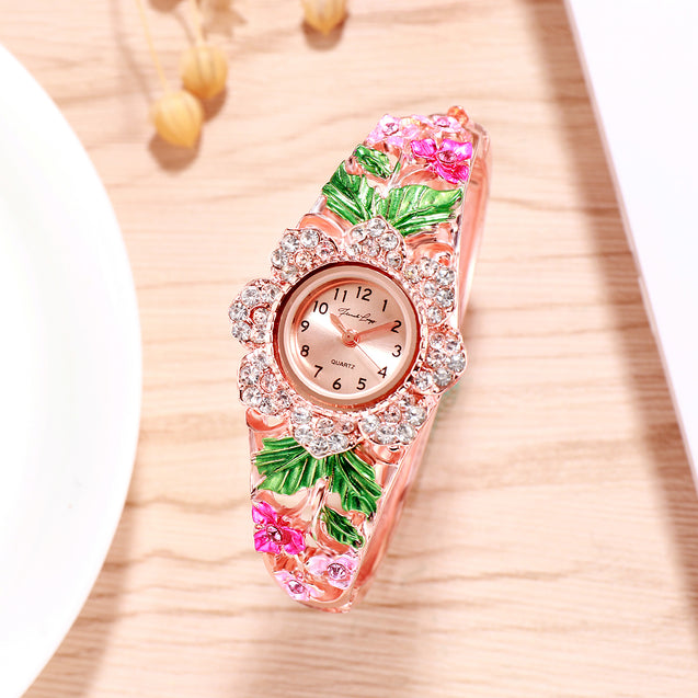 French Loops Queen's Bouquet Pink Jewel Studded Rose Gold Ethnic Party Wear Bracelet Watch