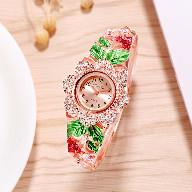 French Loops Queen's Bouquet Red Jewel Studded Rose Gold Ethnic Party Wear Bracelet Watch