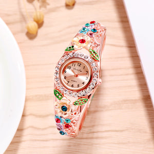 French Loops Floral Surprise Multicolor Rose Gold Jewel Studded Ethnic Party Wear Bracelet Watch