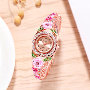 French Loops Floral Surprise Pink & Rose Gold Jewel Studded Ethnic Party Wear Bracelet Watch