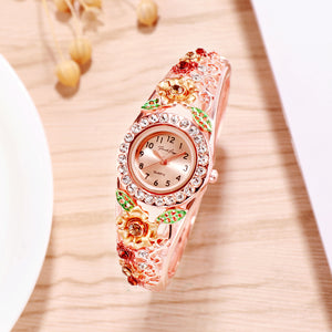 French Loops Floral Surprise Gold & Rose Gold Jewel Studded Ethnic Party Wear Bracelet Watch