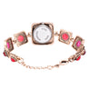 French Loops Queen Collection Red Jewel Studded Ethnic Party Wear Bracelet Watch