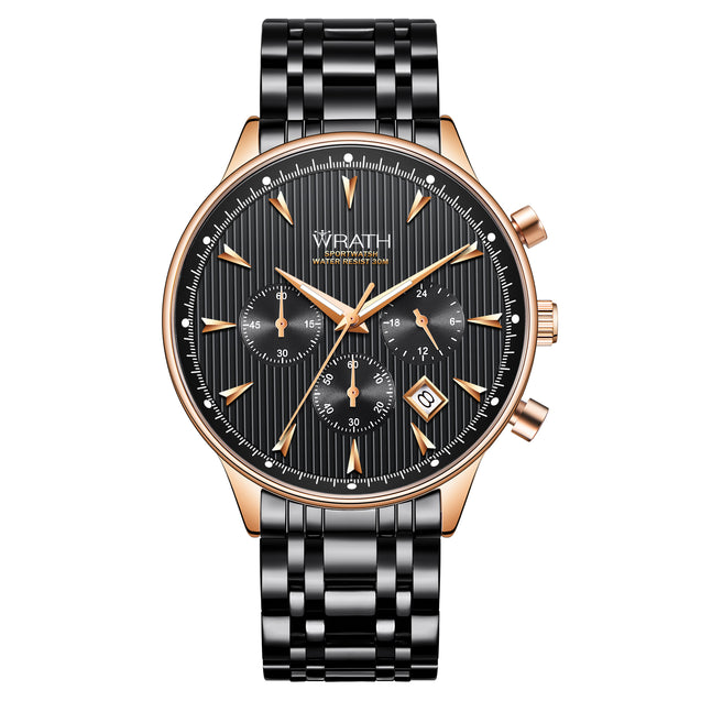 Wrath Business Is A Sport Black Chain Luxury Chronograph Watch For Men.