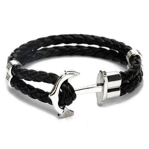 Addic New Haven Braided Leather Anchor Bracelet.