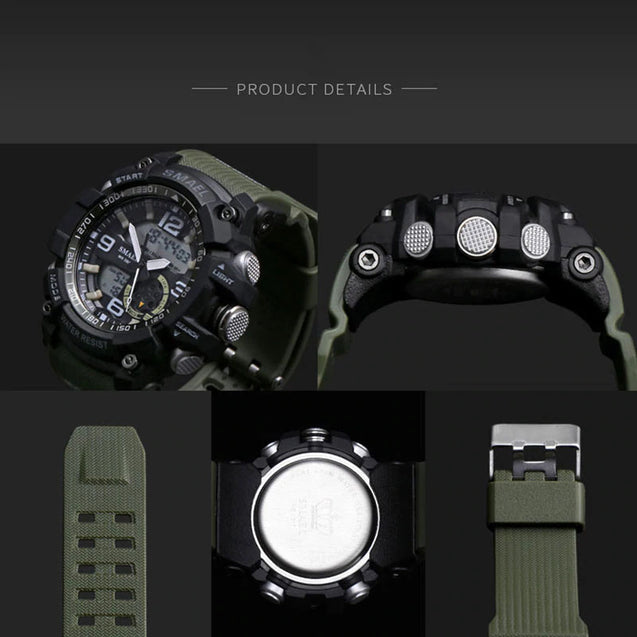 Digilog Military Green Multi-Function Analog Digital Dual Time Watch For Men & Boys