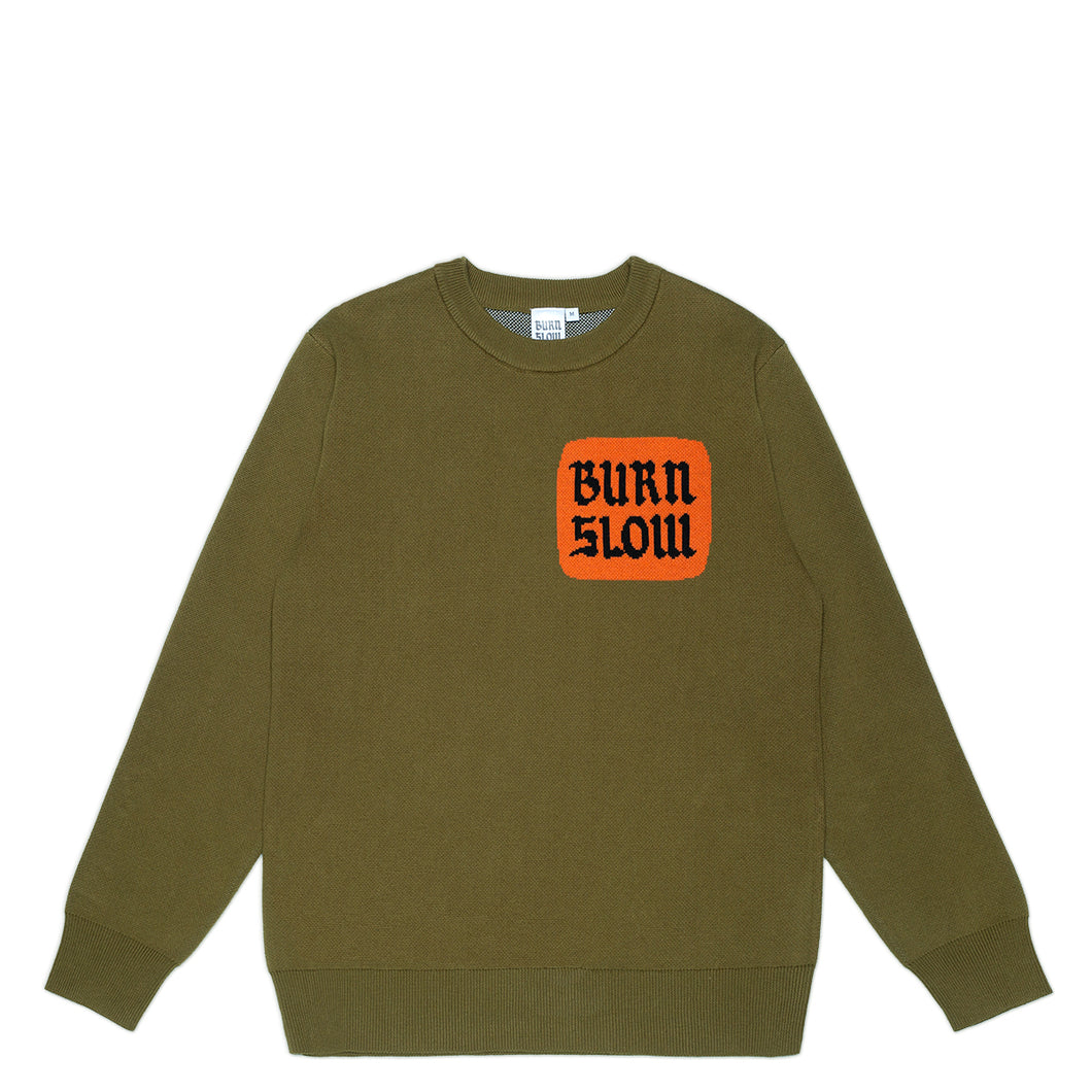Corp Logo Knit Sweater <br><i>Army Green</i>