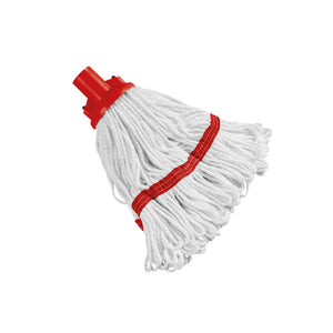 180g Hygiene Socket Mop Head Red x4 103061RD with Aluminium Mop Handle Red 103131RD