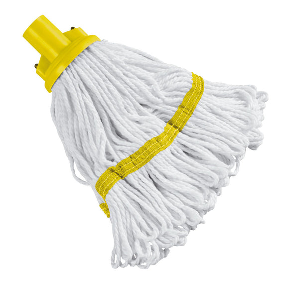 180g Hygiene Socket Mop Head Yellow x4 103061YL with Aluminium Mop Handle Yellow 103131YL