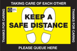 """Queue here Safe Distance"" Floor signs 450x300mm (Pack of 10)"
