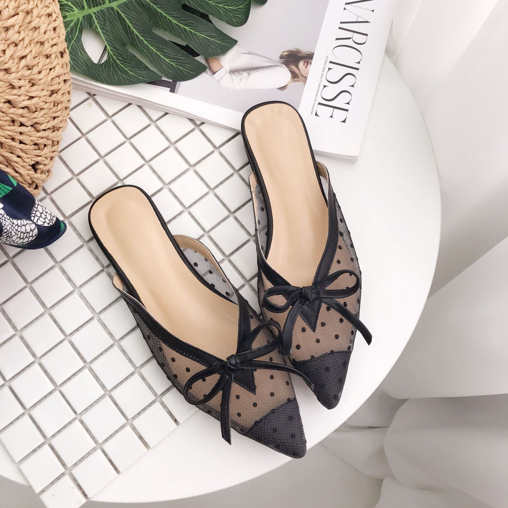 2021 new lace screen gauze point pointed flat sandals women's shoes