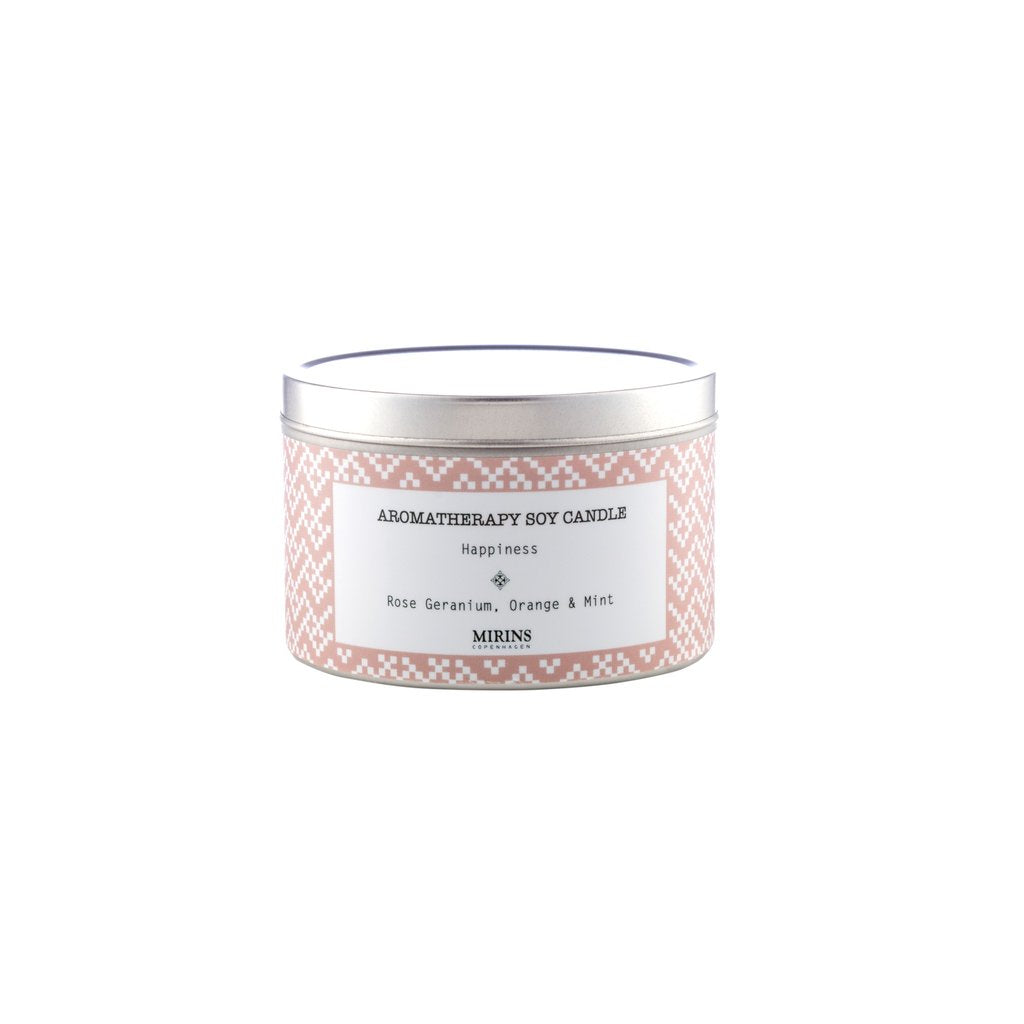 SOY CANDLE - HAPPINESS - ROSE GERANIUM, ORANGE & MINT