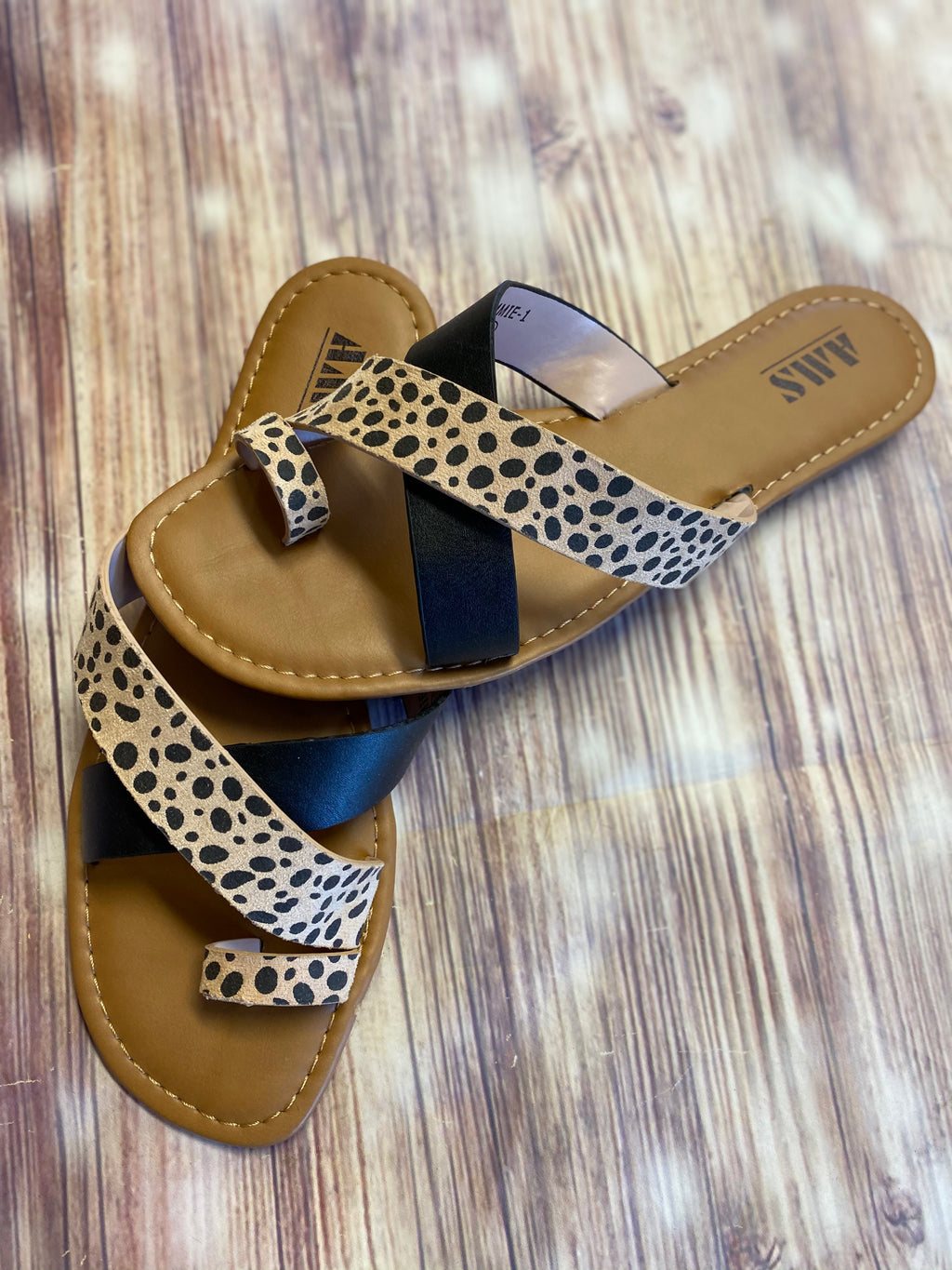 Two Strap Multi Sandal Cheetah/Black