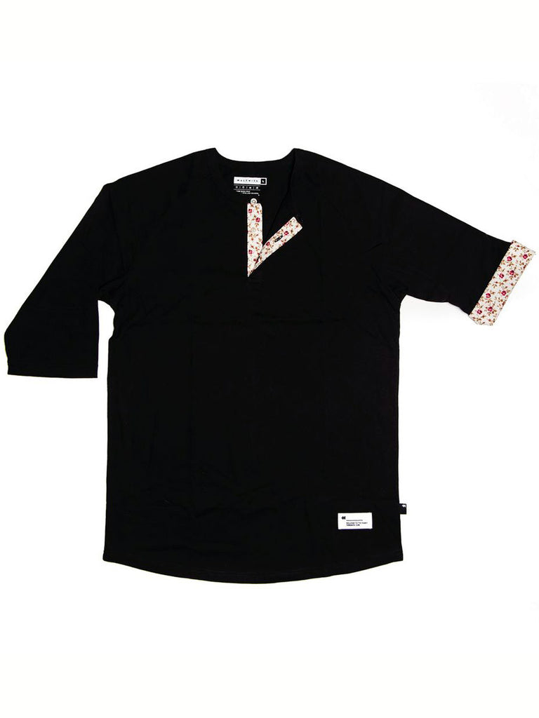Cuffed Black Raglan
